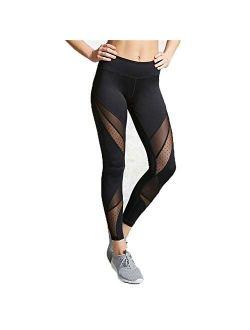 Women Sports Black Mesh Trouser Gym Workout Fitness Capris Yoga Pant Legging