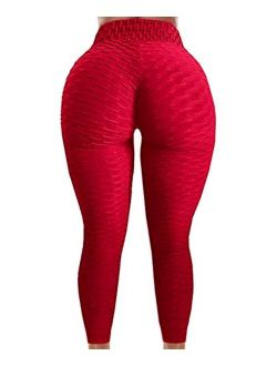 Women's Booty Lifting Yoga Pants High Waist Tummy Control Anti Cellulite Lyte Leggings Workout Honeycomb Tights