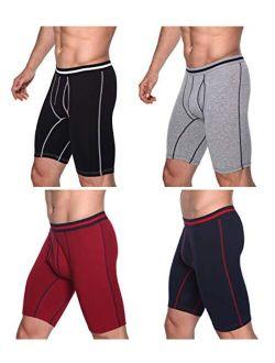 Men's Stripe Boxer Briefs Regular Leg Cotton Underwear with Functional Fly