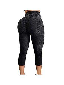 Womens High Waist Booty Scrunch Textured Yoga Pants Butt Ruched Leggings