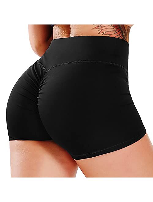FITTOO Women's High Waisted Workout Scrunch Bottom Shorts Pants Ruched Yoga Shorts Butt Lift Trousers