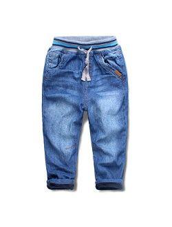 Mud Kingdom Boys' Winter Denim Jeans with Fleece Lining
