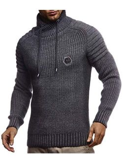 Men's Knitted Pullover   Long-sleeved Slim Fit Knitwear   Biker-style Sweatshirt With Shawl Collar For Men