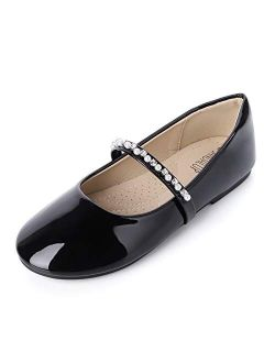 SANDALUP Little Girls Dress Shoes Ballet Flats Inlaid with Pearl and Rhinestone Strap
