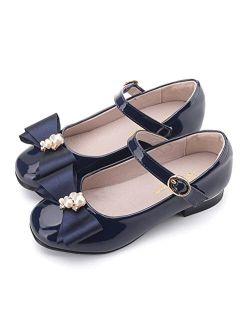 Flyrioc Little Girls Dress Shoes Mary Jane Flats Low Heel Wedding Party Dress Pump Shoes for Kids