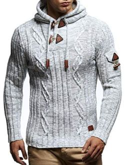 Ln5400 Men's Knitted Pullover With Cozy Hood