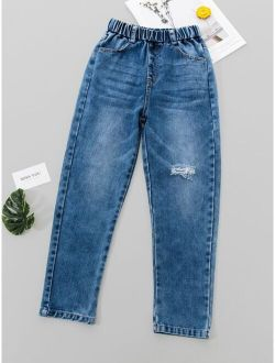Boys Washed Ripped Jeans