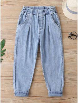 Boys Elastic Waist Tapered Jeans