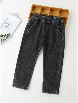 Boys Slant Pocket Elastic Waist Jeans