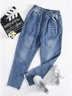 Boys Ripped Raw Hem Washed Jeans