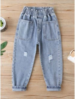 Boys Ripped Dual Pocket Jeans