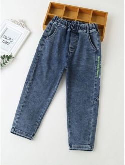 Boys Letter Graphic Carrot Jeans