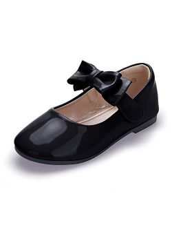 HEHAINOM Toddler/Little Girls Alisa Mary Jane Dress Shoes Flower Girl Ballet Flats with Bow for Party School