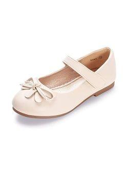 HEHAINOM Girls Toddler Little Kid Emma Dress Ballet Flats Bowknot Ballerina Mary Jane School Wedding Party Flat Shoes