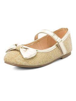 K KomForme Toddler Girls Flat Shoes Non-Slip Soft Ballet Mary Jane Walking Shoes