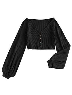 Women's Casual Long Sleeve V-neck Ribbed Knitted Knot Front Crop Top