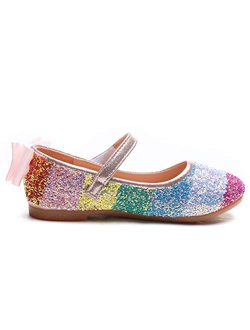 Minibella Girl's Rainbow Glitter Ballet Flats Princess Mary Jane Dress Shoes