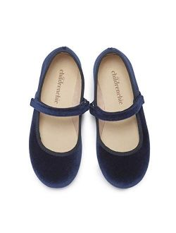 Childrenchic Mary Jane Flats with Hook and Loop Straps – Shoes for Girls (Infant, Toddler, Little Kid)