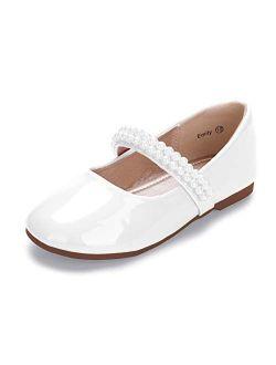 HEHAINOM Toddler Little Kid Girls Dress Shoes Mary Jane Ballet Ballerina Flats Wedding with Pearls Strap