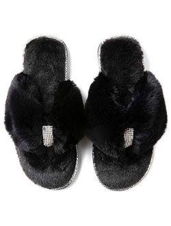 Women's Rhinestone Faux Fur Flip Flop House Slipper With Memory Foam