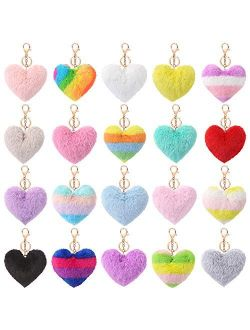Auihiay 20 Pieces Pom Poms Keychains Heart Shaped Pompoms Keyring Fluffy Car Bag Charm for Valentine's Day Decoration