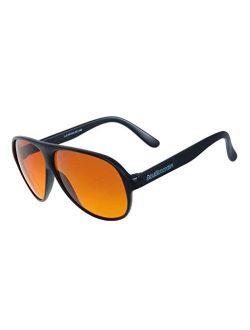 Black Aviator Blublocker Sunglasses - 0406k