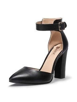 Women's In4 Pedazo High Block Heels Pumps Pointed Closed Toe Ankle Strap Dress Wedding Shoes