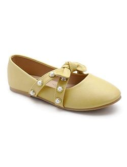Trary Little Girls Ballet Flats Slip-on Dress Shoes with Bow Knot and Pearl