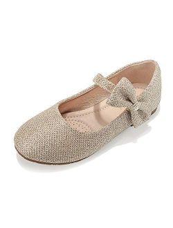 DeerBunny Girls Mary Jane Ballerina Flat Bowknots Dress Shoes(Toddler/Little Kid)