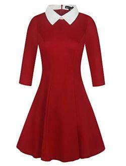 oxiuly Women's Celebrity Retro Chic Turn Down Collar Colorblock Lapel Mini A-Line Casual Dress OX272