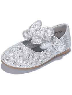 PANDANINJIA Toddler/Little Kid Girl's Felicia Dress Mary Jane Ballet Flats Bow Rhinestone Wedding Party School Ballerina Flat Shoes