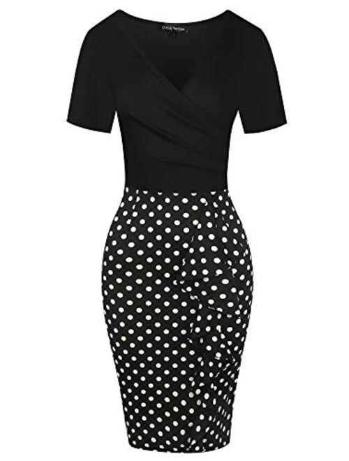 oxiuly Womens Cross V Neck Slim Ruffle Hem Cocktail Party Sheath Pencil Dress OX300