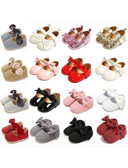 Babelvit Baby Girls Mary Jane Flats with Bow Anti Slip Soft Sole Infant Flower Princess Dress Wedding Shoes
