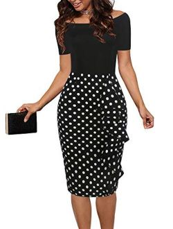 oxiuly Women's Chic Off Shoulder Short Sleeve Party Cocktail Pencil Dress OX298