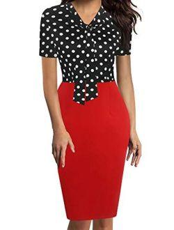 oxiuly Women's Retro 1950s Style Bow Tie V Neck Slim Business Pencil Work Dress OX299