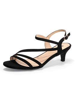 Women's Strappy Heels Sandals 2 Inch Low Kitten Heel Open Toe Ankle Strap Wedding Bride Dress Shoes