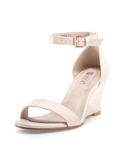 Women's Classic Wedge Heels Sandals 3 Inch Ankle Strap Open Toe Evening Dress Wedding Shoes