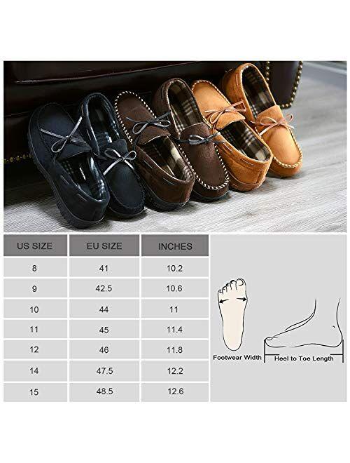 LULEX Mens Moccasin Slippers Memory Foam Anti-Slip Indoor/Outdoor House Slide for Men