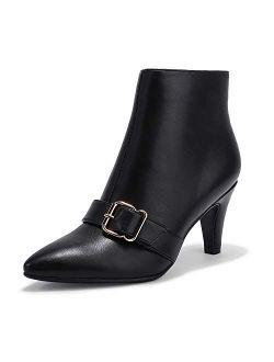 Women's Clara-z Pointed Toe High Heel Ankle Booties Zipper Buckle Strap Short Boots