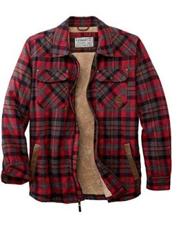Mens Tough As Buck Berber Lined Flannel Shirt Jacket - Casual Zip Front Regular Fit Plaid Leather Trim