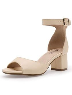 Women's Candie Low Block Heels Sandals Peep Toe Chunky Ankle Strap Wedding Dress Shoes