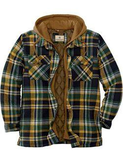 Men's Maplewood Hooded Shirt Jacket, Field Track Plaid, Medium