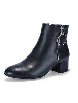 Women's Ring Zipper Ankle Boots 1.8 Inch Low Block Heels Round Toe Dress Jeans Booties