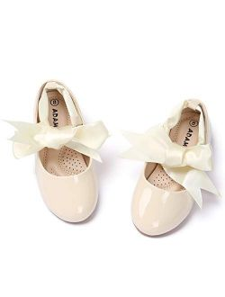 ADAMUMU Ballerina Ribbon Tie Girls Dress Shoes Glitter Flats Cute Bow Mary Jane Shoes,Flower Girls for Wedding Birthday Party or School Daily Dress Up, and 12 Sizes