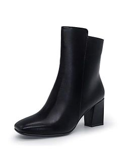 Women's Ada Fashion Square Toe Short Gogo Ankle Boots Low Block Heel Side Zipper Booties - Half Size Larger