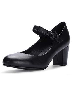 Women's Candy Mary Jane Shoes Low Chunky Block Heels Round Toe Office Work Homecoming Pumps