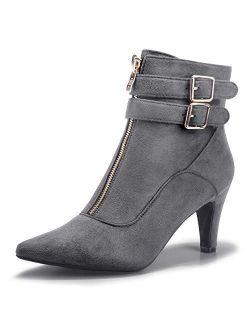 Women's Buckle Strap Ankle Booties 3 Inch Pointed Toe Zipper Heels Dress Jeans Boots