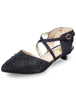 Women's Sequins Wedding Kitten Small Heel Shoes Ankle Strap Bridal Bride Dance Dress Shoes - Silver Gold Black