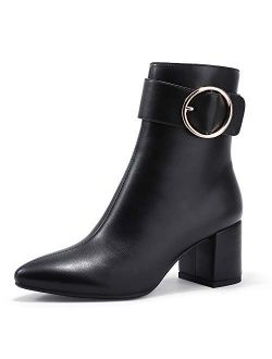 Women's Lori Pointed Toe Chunky High Heel Ankle Booties Metal Ring Zipper Short Boots