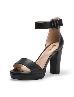 Women's In4 Sabrina Platform Chunky High Heels Ankle Strap Heeled Sandals Wedding Party Dress Shoes